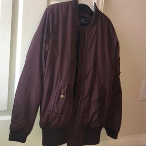 American Eagle burgundy bomber jacket